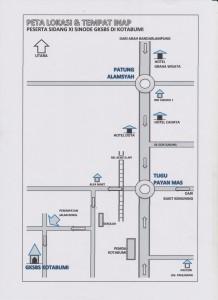 Peta Lokasi Sidang XI Sinode GKSBS di Kotabumi